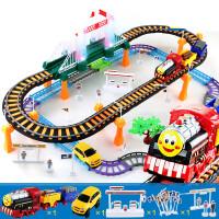拖马斯火车轨道玩具套装电动赛车男孩小汽车益智儿童3-6周岁4礼物 +【1辆警车+1辆巴士
