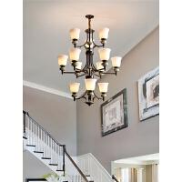 美式吊灯客厅灯大气创意陶瓷灯简约卧室灯家用全铜餐厅灯具