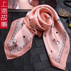 上海故事丝巾女士桑蚕丝绸围巾礼品春秋季印花真丝印花小方巾多色
