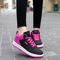 冬季女士高帮板鞋平底运动鞋女学生韩版平跟百搭休闲鞋高腰旅游鞋