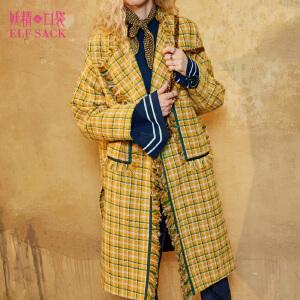 妖精的口袋倾国之恋冬装新款复古格纹长款毛呢大衣外套女