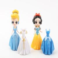 白雪公主美人鱼爱丽丝灰姑娘贝儿公主换装摆件玩具换衣娃娃塑料女 6款娃娃12套衣服 15厘米以下