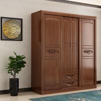 实木衣柜橡木四门大衣橱现代中式卧室家具储物柜二们三门木质衣柜 4门 组装
