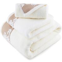 [当当自营]三利 纯棉缎档图腾纹样 米色 方巾毛巾浴巾三件套 礼盒装