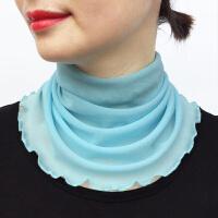 围脖女套头夏防晒仿真丝脖套护颈椎套脖装饰围巾小丝巾白搭假领子