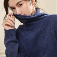 修身针织羊毛衫秋冬季新款女厚堆堆领镂空套头毛衣中长款羊绒衫