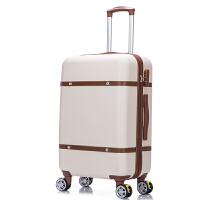 复古拉杆箱旅行箱万向轮皮箱行李箱子20 22 24寸登机箱女学生韩版 乳白色 20寸【买一送十 终身保修】