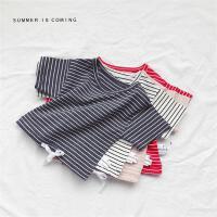 男童女童短袖体恤婴儿童宝宝条纹上衣小童纯棉T恤2夏装4半袖1-3岁