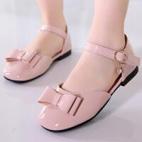 女童包头凉鞋夏季圆头镂空公主鞋儿童鞋子软底皮凉鞋