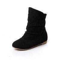 ELEISE美国艾蕾莎新品秋冬179-A-3甜美磨砂绒面平跟女士短靴