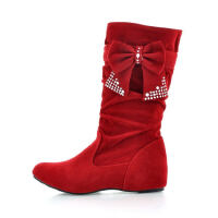 ELEISE美国艾蕾莎新品秋冬189-608-1韩版磨砂绒面内增高女士短靴