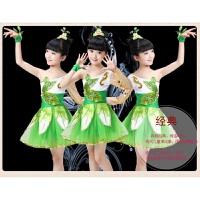 儿童演出服话剧服饰舞台道具大树小草植物演出服的表演衣服装 翠绿色
