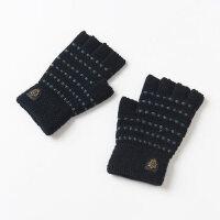 韩版半截冬季手套男半指 学生毛线露指手套男冬保暖