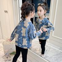 女童外套春装女孩牛仔夹克童装春秋中大童儿童上衣