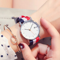 韩版石英男表女款手表学生表 个性时尚情侣表英伦条纹复古腕表 潮流简约休闲女表