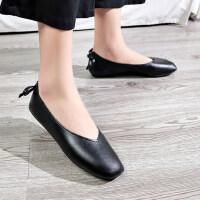 新款低帮浅口甜美蝴蝶结原宿单鞋舒适平跟平底女式奶奶鞋