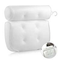 护颈枕头 浴室吸盘枕头Spa枕头浴缸枕头3D网布枕头 白色 35*33*10cm