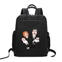 妈咪包双肩包女韩版时尚宝妈妈外出背包多功能大容量旅行包母婴包 黑色同款