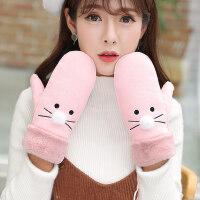 韩版学生卡通棉手套情侣挂脖骑行手套加绒加厚保暖可爱手套女