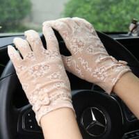 短款防晒防紫外线蕾丝骑开车防滑触屏棉手套百搭手套女薄款