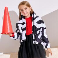 【2件5.5折到手价:200】小猪班纳童装女童羽绒服2019冬装新款儿童连帽加厚外套中大童上衣