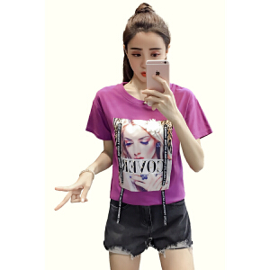 【班图诗妮】2018 欧洲站夏装社会短袖女新款上衣时尚T恤韩范小衫潮