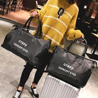 新款时尚旅行包男女大容量手提包长短途轻便旅游包健身包行李大包 字母黑色 小
