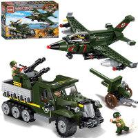3-6-8周岁男孩儿童玩具积木拼装小颗粒军事车飞机模型