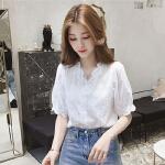 衬衫 女士V领蕾丝花边灯笼袖衬衫2020夏季新款韩版时尚女式洋气短袖女装半袖