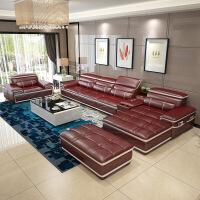 客厅沙发组合 现代简约大中小户型转可定制头层牛皮皮艺沙发l