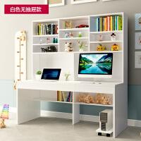 台式电脑书桌书架组合家用简约现代学生带书柜一体卧室双人写字桌 180暖白色