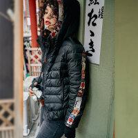【超品日/1件3折/到手价:340元】裂帛连帽黑色羽绒服女士2019冬季新款刺绣白鸭绒显瘦轻薄收腰外套