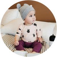 婴儿纯棉衣服新生儿可爱兔子小童女幼儿0-3岁长袖打底衫男宝宝T恤