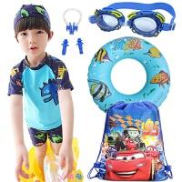 儿童泳衣男童分体防晒速干泳装泳帽中大童宝宝小孩平角泳裤套装