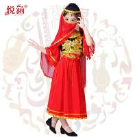 儿童新疆舞蹈服装维吾尔族演出服少数民族印度舞表演服女