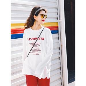 七格格宽松大t恤女bf风春装2018新款女装韩版学生潮打底衫长袖春款上衣