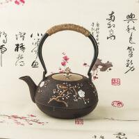 铸铁泡茶烧水壶煮茶器电陶炉茶炉功夫茶具套装铸铁茶壶纯手工无涂层缠麻绳带滤网礼品铁壶