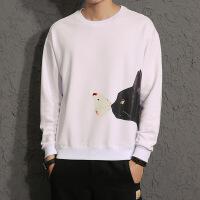 2018秋装T恤宽松版圆领套头卫衣男猫&老鼠