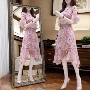 碎花雪纺连衣裙女夏季2018新款修身气质显瘦中长款V领荷叶边裙子