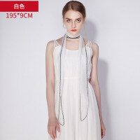 韩国百搭颈巾薄细窄长条小丝巾女桑蚕丝装饰白色真丝围巾