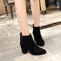 高跟粗跟尖头女百搭加绒踝靴及裸靴新款短筒马丁靴潮女短靴