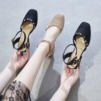 凉鞋 2019新款女生 ins潮包头凉鞋仙女风时尚粗跟高跟鞋女夏一字扣带鞋