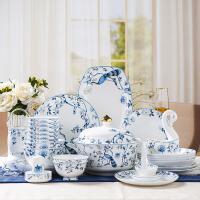 60头蓝孔雀碗碟套装家用景德镇高档陶瓷餐具碗盘碟勺骨瓷餐具陶瓷碗盘碟组合套装