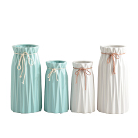 创意摆件家居装饰品简约陶瓷小花瓶蝴蝶结小清新干花花瓶客厅插花
