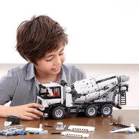 工程搅拌车积木模型儿童汽车男孩组装智力玩具