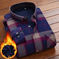 男士保暖衬衫长袖中年爸爸加绒加厚格子衬衣潮