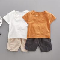 儿童夏装男童短袖套装宝宝唐装小童0汉服1婴儿棉麻衣服2中国风3岁
