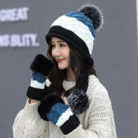 甜美可爱针织帽 时尚百搭保暖帽子女 韩版毛线帽加绒护耳包头帽防寒手套