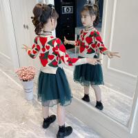 女童毛衣裙春装洋气连衣裙春秋小女孩公主裙子儿童套装裙