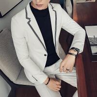 西装男韩版潮修身帅气发型师西服套装休闲男士两件套西装